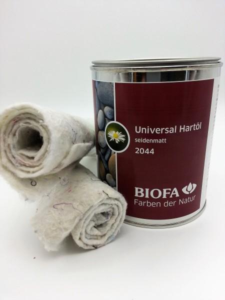 Biofa | Universal Hartöl | seidenmatt | 0,75 l | Set mit 2 Ölsaugtüchern