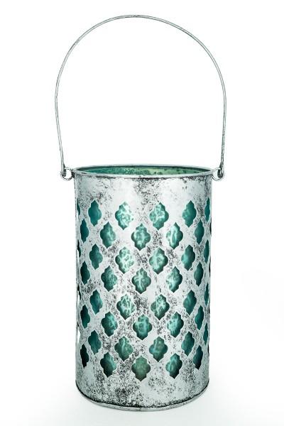 Laterne silber XL | mit Glaseinsatz in weiß & eisblau | handgemacht