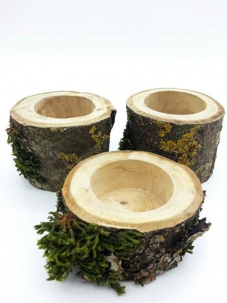 Teelichthalter Walnussholz mit Rinde und Bewuchs | Set 3 Stück